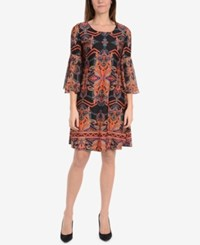 Ny Collection Bell Sleeve A Line Dress Neon Firecombo
