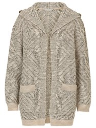 Betty And Co. Chunky Hooded Cardigan Brass Grey