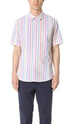 Steven Alan Short Sleeve Jasper Shirt Candy Stripe