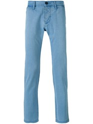 Edwin Striped Tapered Trousers Men Cotton 32 Blue