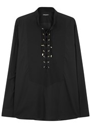 Balmain Black Lace Up Cotton Shirt