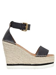 See By Chloe 120Mm Leather Wedge Sandals Black