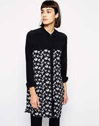 Dr. Denim Dr Denim Patterned Longline Shirt Blackwhite