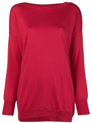 Snobby Sheep Boat Neck Jumper Red