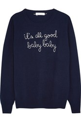 Lingua Franca It's All Good Baby Baby Embroidered Cashmere Sweater Navy