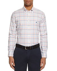 Brooks Brothers Plaid Classic Fit Button Down Shirt Optic White Orange Navy