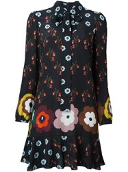 Red Valentino Floral Print Shirt Dress Black