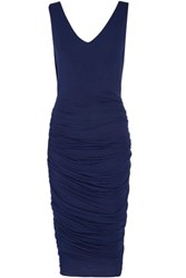 Bailey 44 Cutout Ruched Stretch Jersey Dress Navy