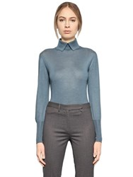 Larusmiani Cashmere And Silk Knit Polo Sweater