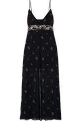 Amiri Embellished Embroidered Silk Chiffon Maxi Dress Black