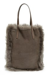 Pedro Garcia 'North South' Genuine Lambskin Shearling Tote Grey Fox Castoro
