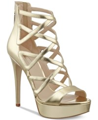 Guess Women's Kadani Caged Platform High Heel Sandals Women's Shoes Gold