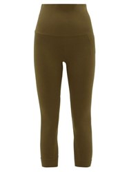 Falke High Rise Cropped Performance Leggings Dark Green
