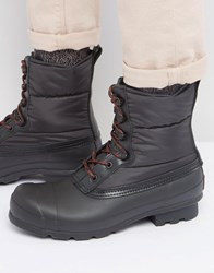 Hunter Original Short Quilted Lace Up Boots Black