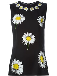 Dolce And Gabbana Daisy Print Tank Top Black