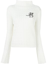 Msgm Cable Knit Sweater White