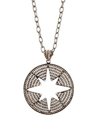 Bavna Pave Champagne Diamond Round Pendant Necklace