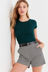 Urban Outfitters Uo Lady High Rise Houndstooth Short Black White