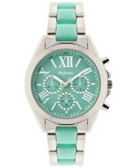 Styleandco. Style And Co. Women's Chronograph Two Tone Stainless Steel And Plastic Bracelet Watch 40Mm Sy005smt Only At Macy's