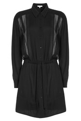 Iro Shirt Dress With Sheer Inserts Black