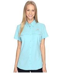 Columbia Lo Drag Short Sleeve Shirt Iceberg Women's Short Sleeve Button Up Blue