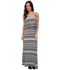Stetson 9574 Aztec Print Maxi Dress Blue Women's Dress