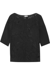 Suno Embellished Cutout Silk Top Black