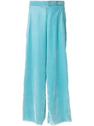 Aviu Draped Wide Leg Trousers Silk Viscose Blue