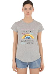 Zadig And Voltaire Printed Cotton Jersey T Shirt Grey