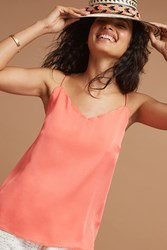 Anthropologie Scalloped Cami Coral