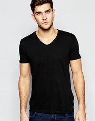 Replay T Shirt Deep V Neck Laser Cut In Washed Black Washedblack
