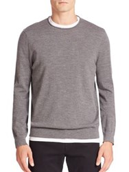 Vince Heathered Wool And Cashmere Blend Sweater Heather Cinder