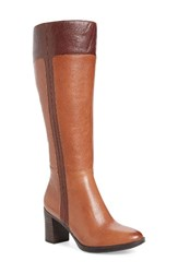 Naturalizer Women's Frances Knee High Wide Calf Block Heel Boot Brown Leather