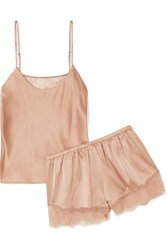 Cami Nyc Perry Lace Trimmed Stretch Silk Charmeuse Pajama Set Blush
