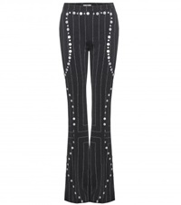Edun Embellished Flared Wool Trousers Black