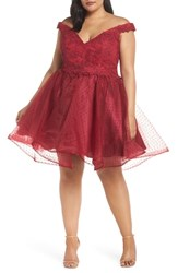Mac Duggal Plus Size Off The Shoulder Swiss Dot Party Dress Burgundy