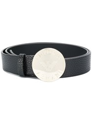 Emporio Armani Metal Logo Disc Belt Black
