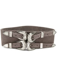 B Low The Belt Double Buckle Women Calf Leather Metal M Grey