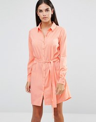 Ax Paris Tie Waist Shirt Dress Peach Pink
