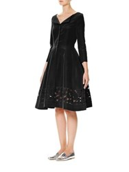 Carolina Herrera Long Sleeve Cutout Silk Faille Dress Black