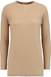 Tory Burch Deanna Ribbed Paneled Cashmere Sweater Brown