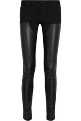 Givenchy Leather Paneled Low Rise Skinny Jeans Black