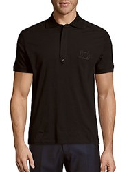 Balmain Solid Cotton Polo Black