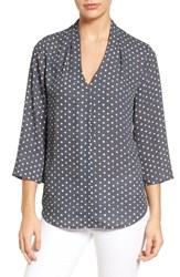 Nydj Women's 'Origami' Georgette V Neck Tunic Textured Dots Black