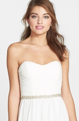 Nina 'Tierra' Braided Crystal Belt Ivory Organza