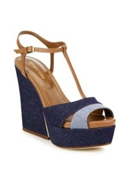 Sergio Rossi Edwige Denim And Leather Platform T Strap Wedge Platform Sandals