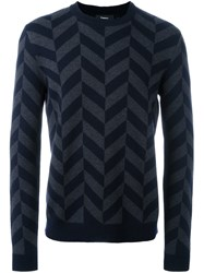 Theory Chevron Effect Jumper Blue