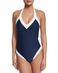 Heidi Klein Cape Cod Padded V Neck Halter One Piece Swimsuit Navy