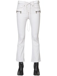 Unravel Laced Cropped Bootcut Cotton Denim Jeans
