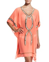 Kuna Beaded Caftan Coverup Women's Orange Popsicle 6 Shore Road By Pooja